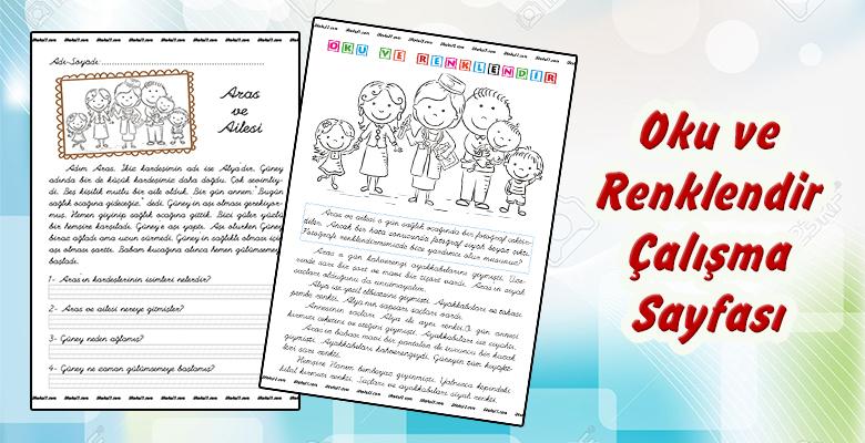 1. Sınıf Oku ve Renklendir Etkinlik Sayfası
