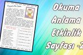 Osman'ın Bir Günü -1. Sınıflar İçin Okuma Anlama- Çalışma Sayfası