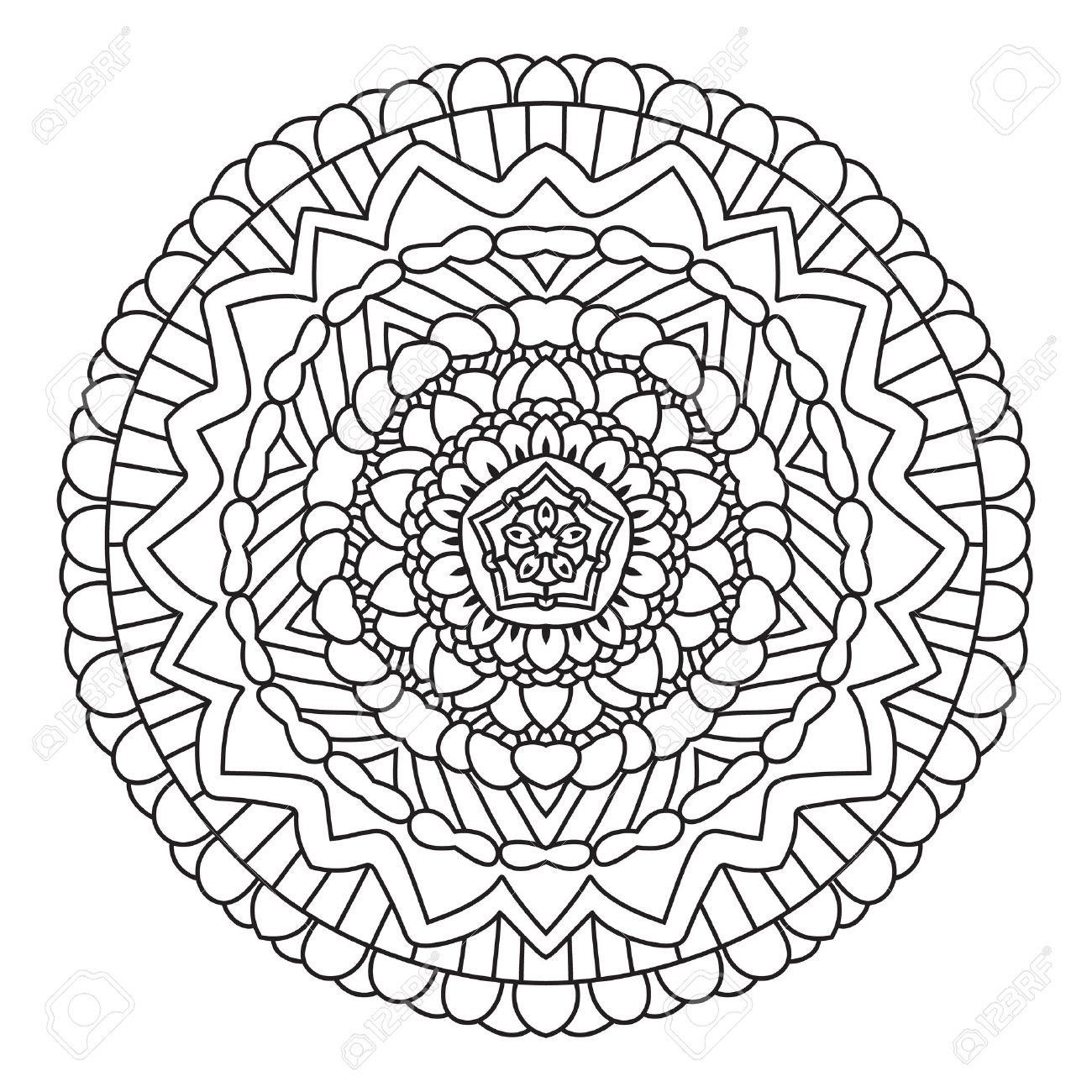 44342145-Circular-Symmetric-Ethnic-Pattern-Mandala-Coloring-İsolated-Stock-Photo