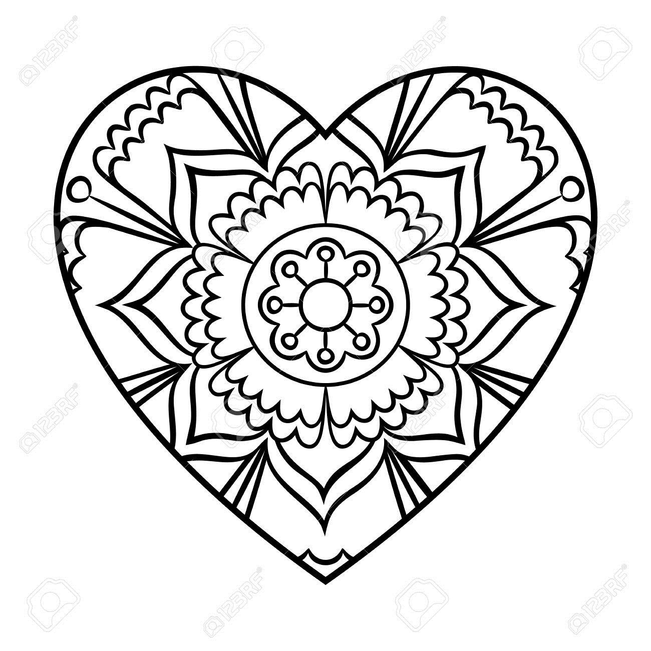 61096847-Doodle-Heart-Mandala-Coloring-Page-Outline-Floral-Design-Element-Stock-Photo