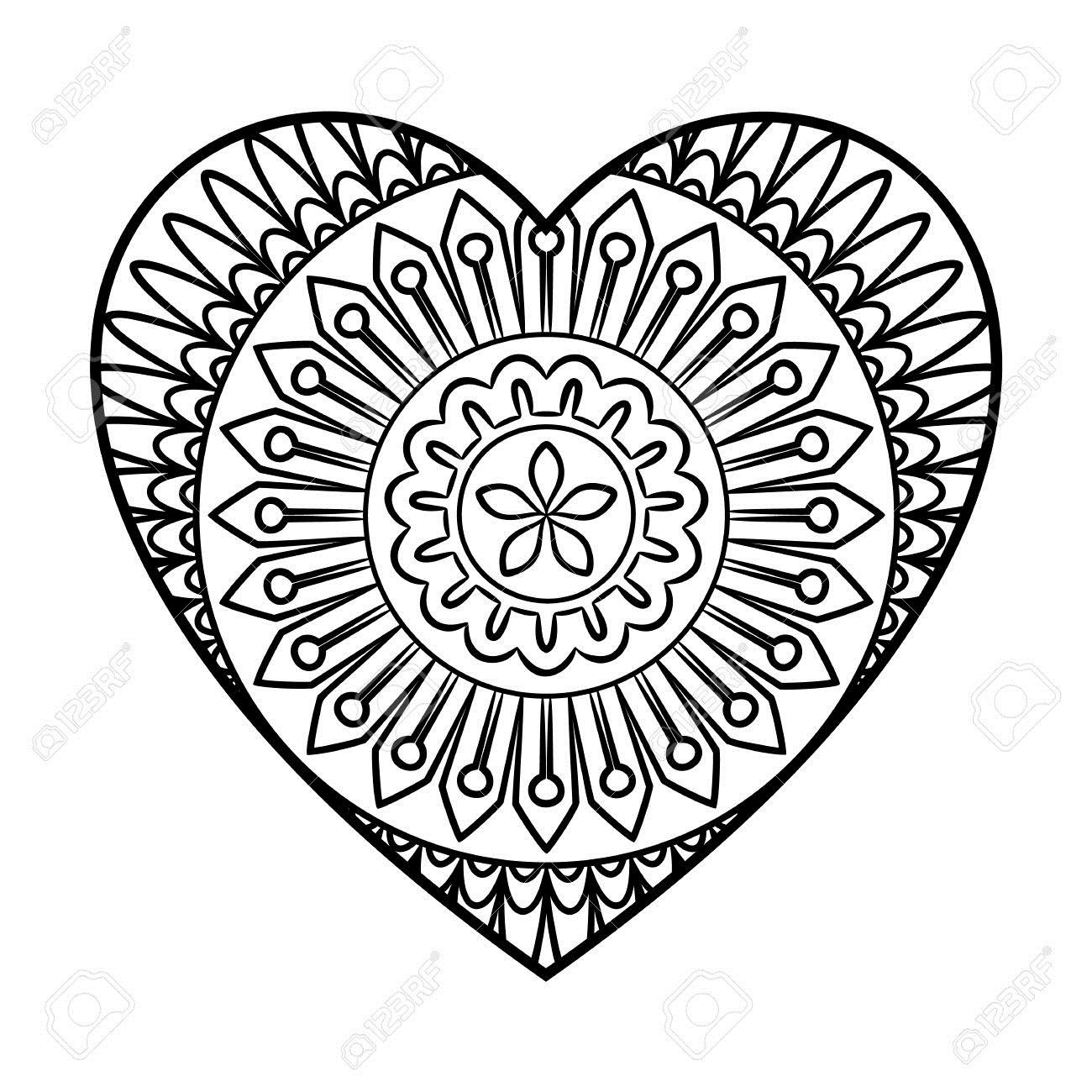 61096848-Doodle-Heart-Mandala-Coloring-Page-Outline-Floral-Design-Element-Stock-Photo