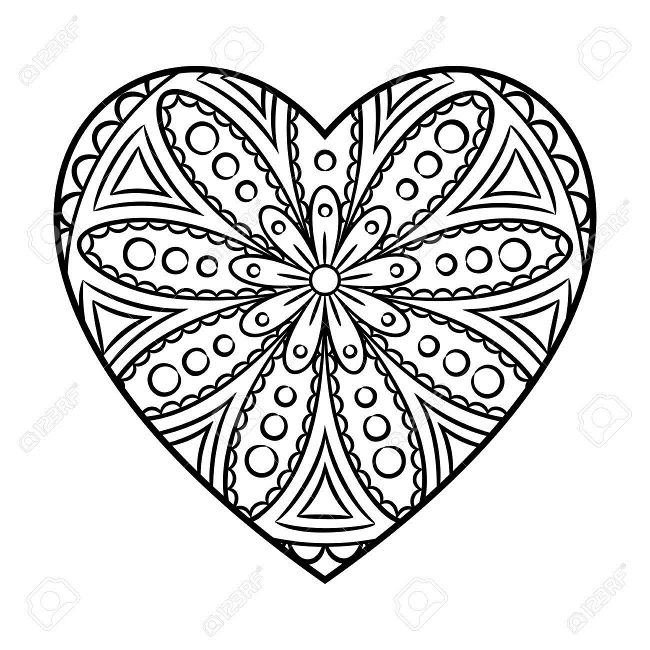 62078202-Doodle-Heart-Mandala-Coloring-Page-Outline-Floral-Design-Element-Stock-Photo