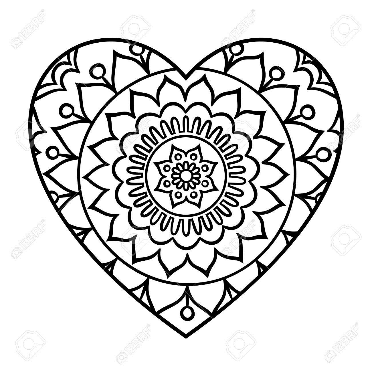 62078224-Doodle-Heart-Mandala-Coloring-Page-Outline-Floral-Design-Element-Stock-Photo