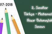 2017-2018 2. Sınıflar Sene Başı Hazır Bulunuşluk Sınavı