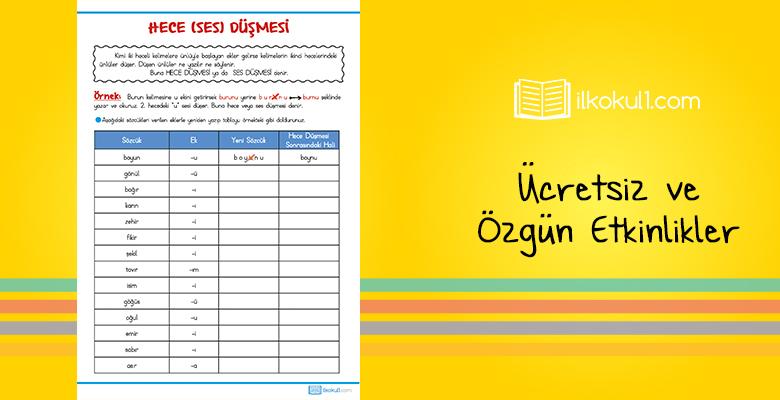 3. Sınıf Türkçe Hece Düşmesi Etkinlik Kağıdı