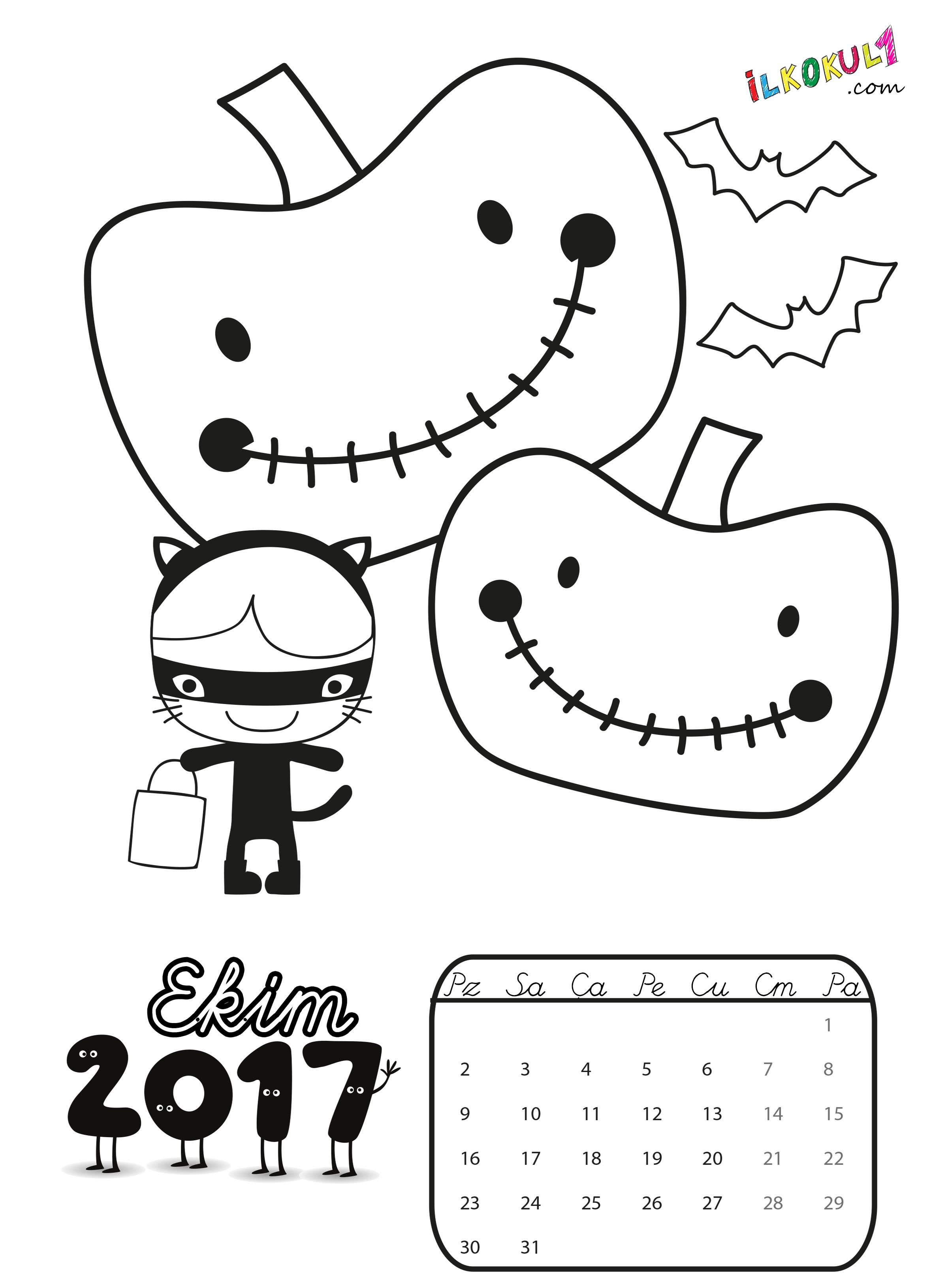 2017 Takvim Boyama Sayfasi 10 Sınıf öğretmenleri Için ücretsiz