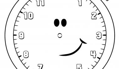 Okul öncesi Saat Boyama Sayfası Sınıf öğretmenleri Için ücretsiz