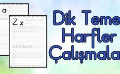 Dik Temel Harfler Yazı Çalışma Sayfaları