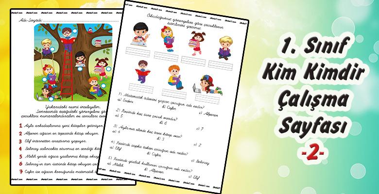 1. Sınıf Türkçe – Kim Kimdir?- Okuma Anlama Çalışma Sayfası –2–