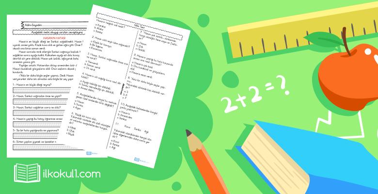 2. Sınıf Okuma Anlama Test Etkinliği -1-