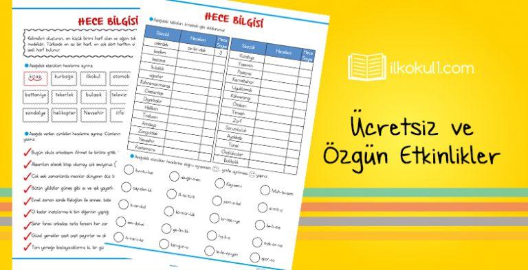 3 Sinif Turkce Hece Bilgisi Etkinlik Kagidi