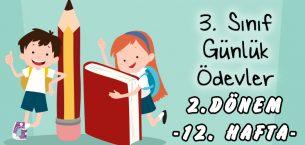 3. Sınıf Günlük Ödevler -2. Dönem 12. Hafta-