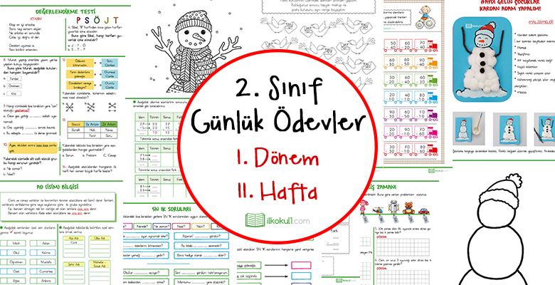 2018 2019 2 Sinif Gunluk Odevler 1 Donem 11 Hafta Sinif