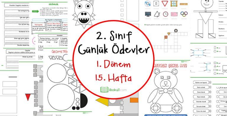 2018 2019 2 Sinif Gunluk Odevler 1 Donem 15 Hafta Sinif