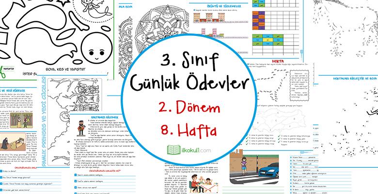 2018 2019 3 Sinif Gunluk Odevler 2 Donem 8 Hafta Sinif