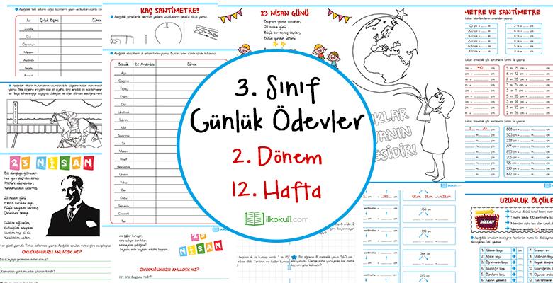 2018-2019 3. Sınıf Günlük Ödevler 2. Dönem 12. Hafta