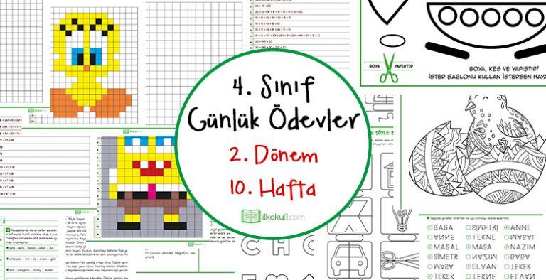 2018 2019 4 Sinif Gunluk Odevler 2 Donem 10 Hafta Sinif