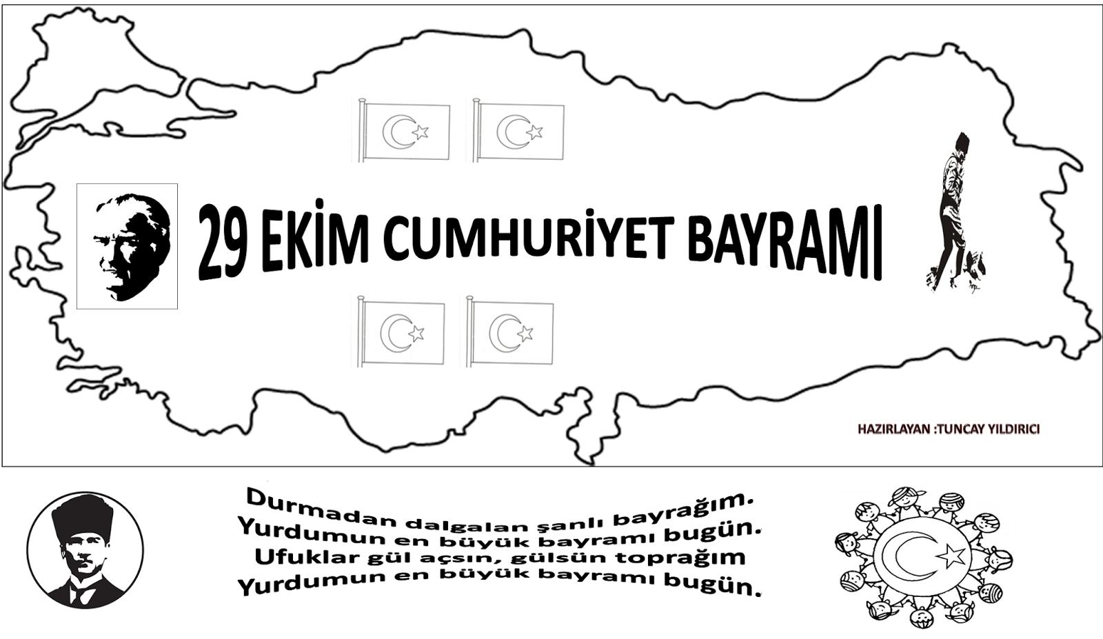 Cumhuriyet Bayrami Boyamasayfasi 1 Sinif Ogretmenleri Icin