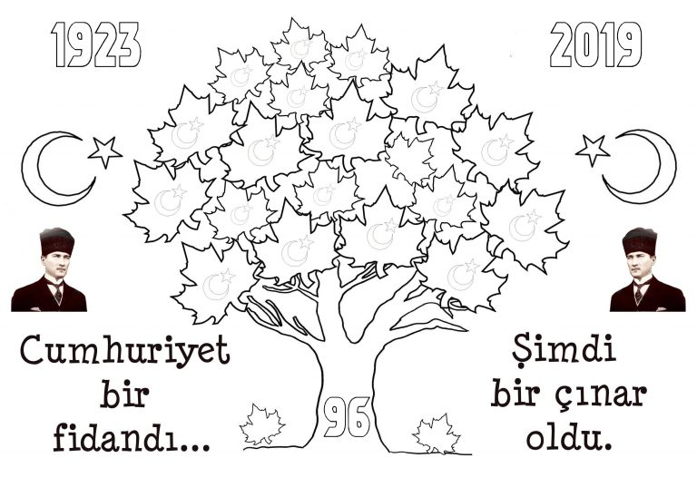 2019 Cumhuriyet Bayramı Boyama Sayfaları Sınıf
