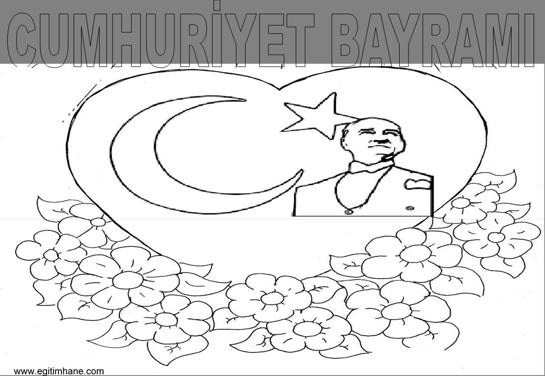 Cumhuriyet Bayrami Boyamasayfasi 4 Sinif Ogretmenleri Icin