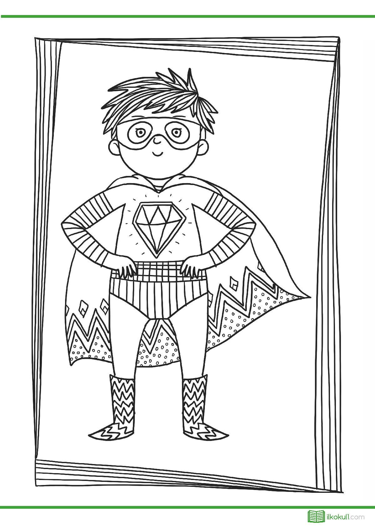 Super Kahraman Detayli Boyama Sayfalari