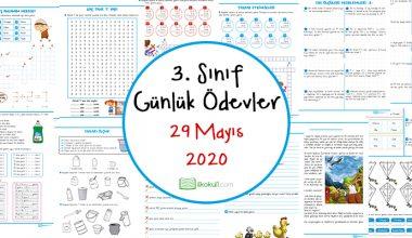 3. Sınıf Günlük Ödevler -29 Mayıs 2020-