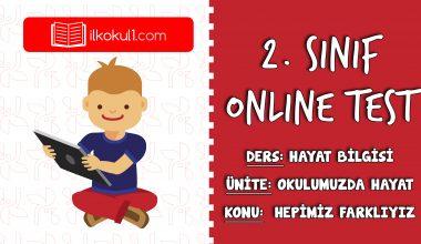 2. Sınıf Hayat Bilgisi -OKULA HAZIRLIK-  Online Test