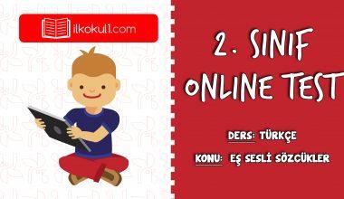 2. Sınıf Türkçe -EŞ SESLİ SÖZCÜKLER- Online Test