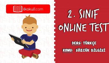 2. Sınıf Türkçe -SÖZCÜK BİLGİSİ- Online Test
