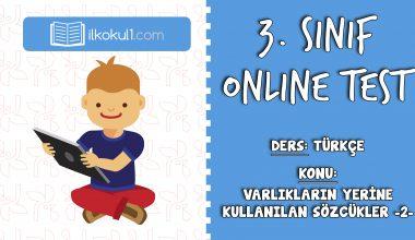 3. Sınıf Türkçe -VARLIKLARIN YERİNE KULLANILAN KELİMELER 2- Online Test