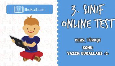 3. Sınıf Türkçe -YAZIM KURALLARI 2- Online Test