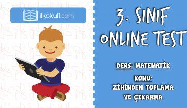 3. Sınıf Matematik -ZİHİNDEN TOPLAMA VE ÇIKARMA- Online Test