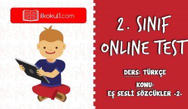 2. Sınıf Türkçe -EŞ SESLİ SÖZCÜKLER 2- Online Test