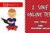 2. Sınıf Türkçe -OKUDUĞUNU ANLAMA- Online Test