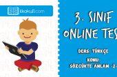 3. Sınıf Türkçe -SÖZCÜKTE ANLAM 2- Online Test
