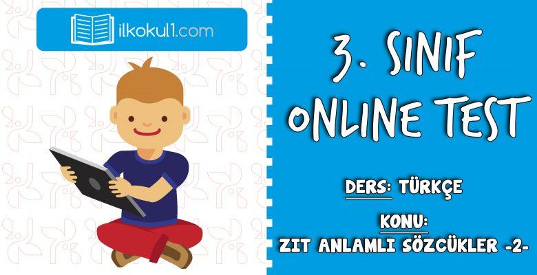 3. Sınıf Türkçe -ZIT ANLAMLI KELİMELER 2- Online Test