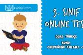 3. Sınıf Türkçe -OKUDUĞUNU ANLAMA 2- Online Test