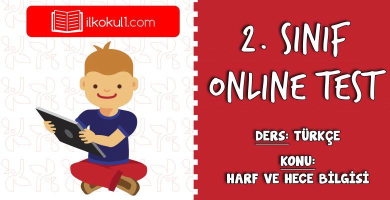 2. Sınıf Türkçe -HARF VE HECE BİLGİSİ- Online Test