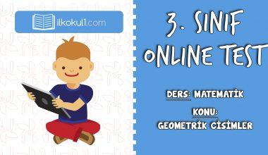 3. Sınıf Matematik -GEOMETRİK CİSİMLER- Online Test