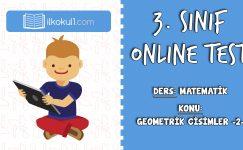 3. Sınıf Matematik -GEOMETRİK CİSİMLER 2- Online Test