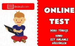 Zıt Anlamlı Sözcükler Online Test